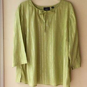 AVENUE BLOUSE Size 18/20 Lime Green Washable